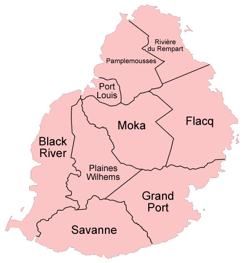 Carte des districts de l'ile maurice