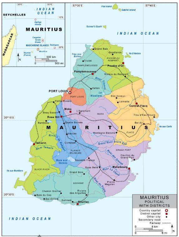 Carte des districts de l'Ile Maurice   Vacances Maurice