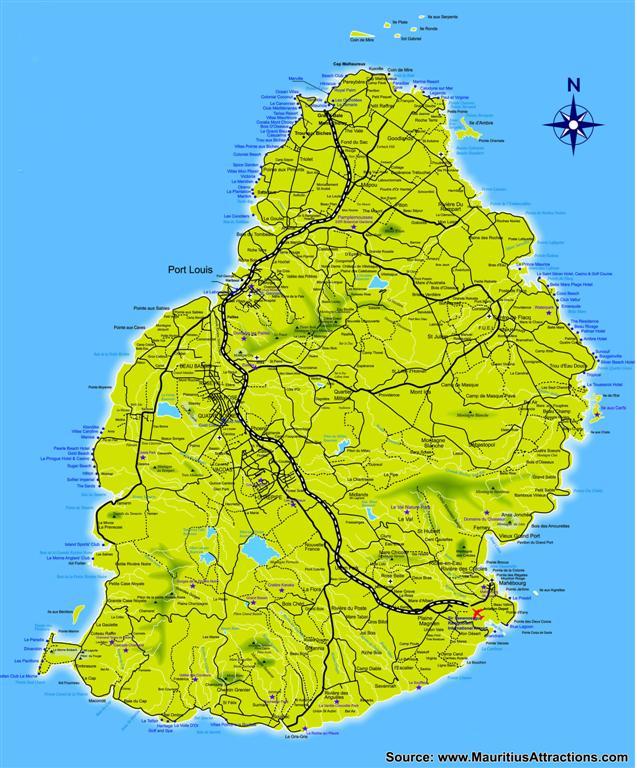 Carte routière de l'île Maurice   Vacances Maurice
