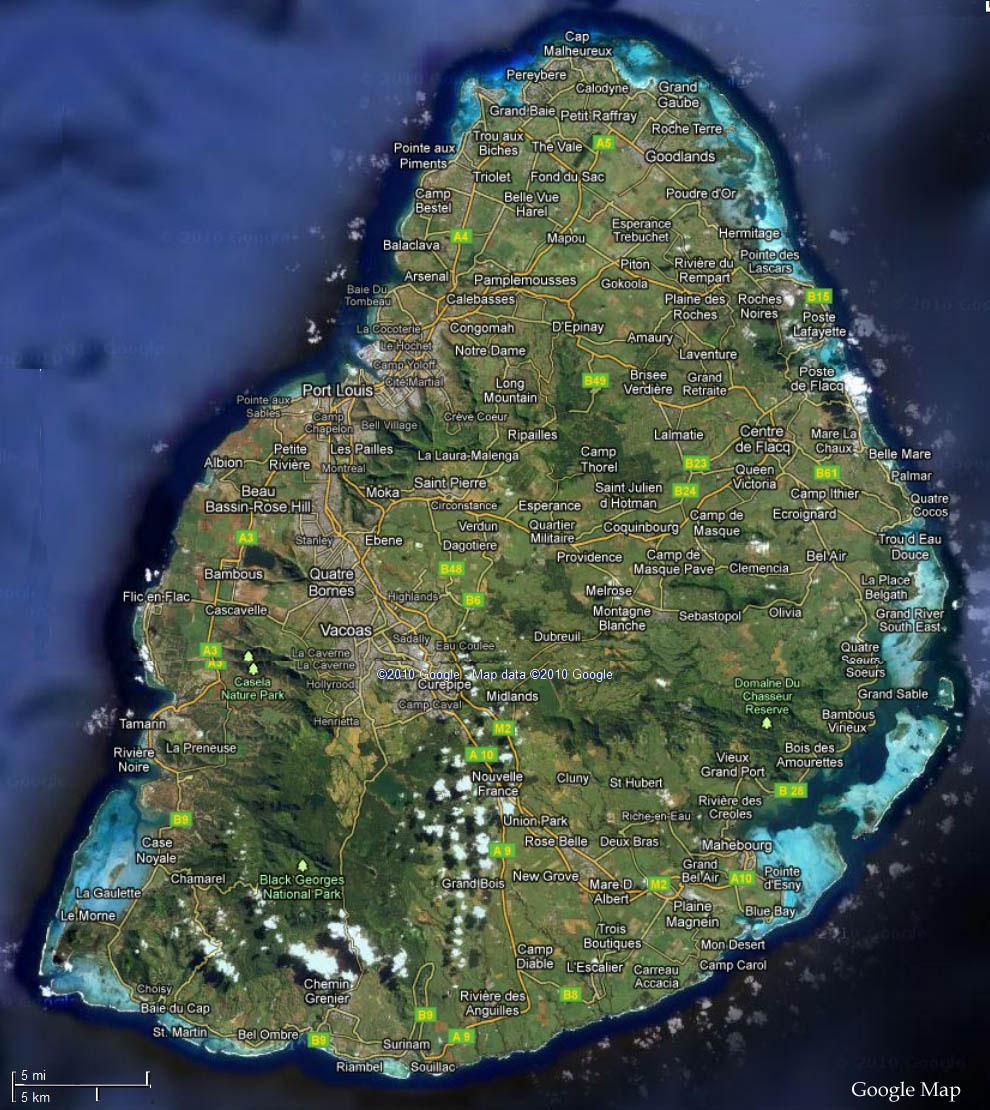 Carte Satellite De L Ile Maurice Vacances Maurice